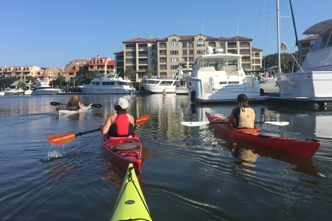 Kayaking out of Shelter Cove Marina Hilton Head Island