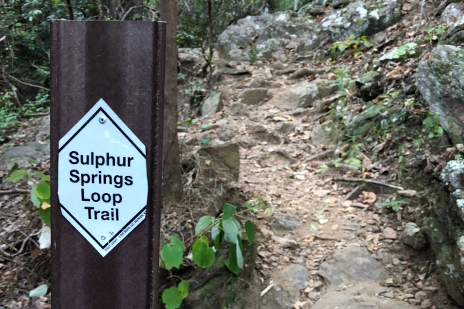 Sulphur Springs Trail sign at Paris Mountain State Park