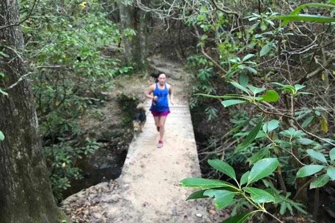 trail runner on sulphur springs trail at Paris Mountain State Park, Greenville, SC