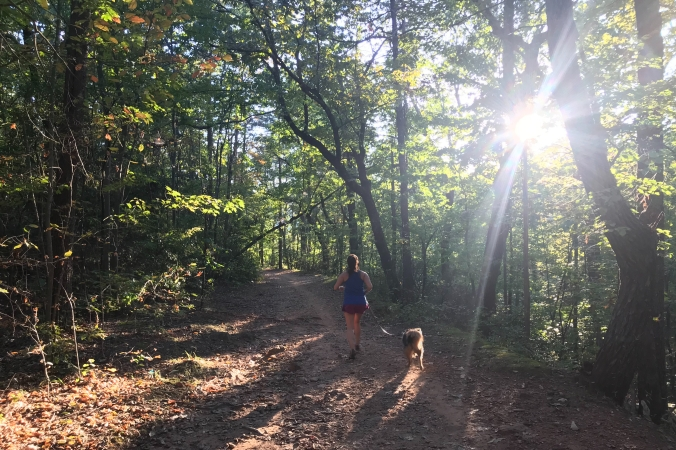 Trail runner on Sulpher Springs Trail, Paris Mountain State Park, Greenville, South Carolina